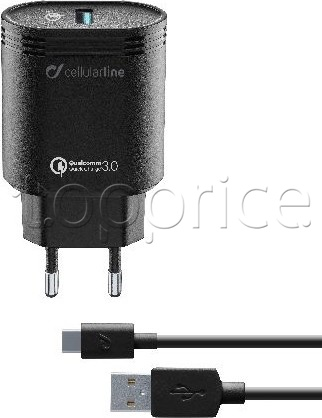 Фото Сетевое З/У Cellular Line USB QC 3.0 + Type-C cable Black (ACHHUKITQCTYCK)