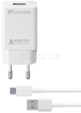 Фото Сетевое З/У Cellular Line USB 3A Adaptive Fast Charger + cable Type-C White (ACHSMKIT15WTYCW)