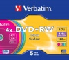 Фото товара DVD+RW Verbatim Color Surface 4.7Gb 4x (5 Pack OPP) (43297)