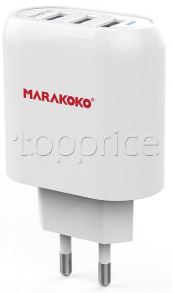 Фото Сетевое З/У Marakoko MA17 3 USB 17W + Lightning cable White