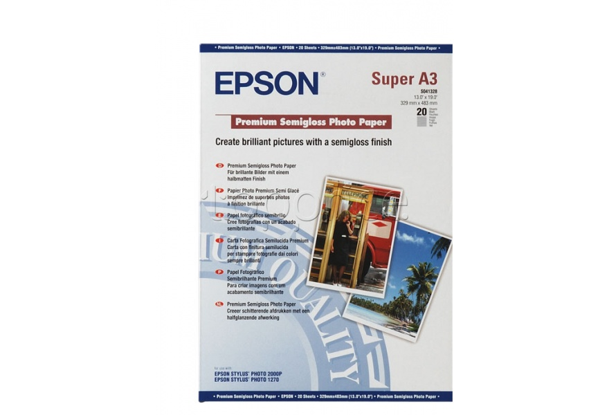 Фото Бумага Epson A3+ Premium Semigloss Photo Paper, 20 л. (C13S041328)