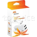 Фото Автомобильное З/У Florence 2USB + cable iPhone 4/4 S White 2100mA (CC21-IPH4)